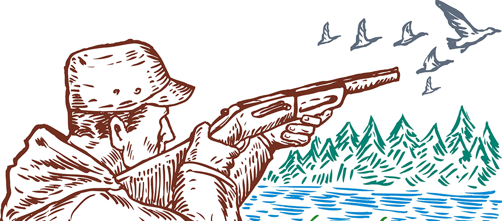 firearms safety - sketch of hunter aiming shotgun at birds