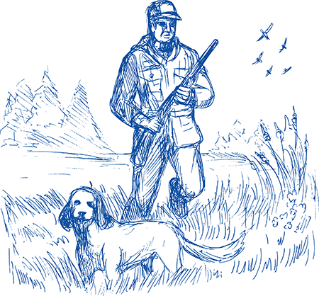 sketch of hunter with dog